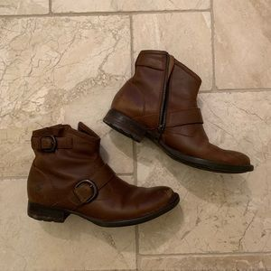 Born brown leather booties